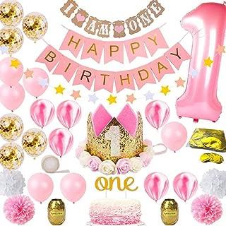 Hongkai 1st Birthday Girl Decorations Girls First Decor Supplies Set Princess Pink Gold Theme Kit Tiara Crown Hat One Cake Topper Number Confetti foil Latex Balloons Happy Birthday Banner