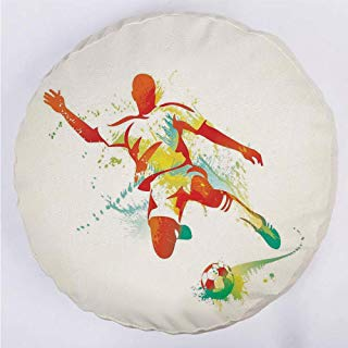 YOUWENll Round Decorative Throw Pillow Floor Meditation Cushion Seating/Soccer Player Kicks The Ball Competitions Paint Splashes Speed Boots Art/for Home Decoration 17