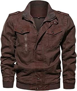 444bb501 WEEN CHARM Men's Military Jacket Casual Cotton Outdoor Windbreaker Jacket