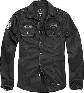 Brandit Luis Shirt Homme Chemise Manches Longues Noir, Regular/Coupe Standard