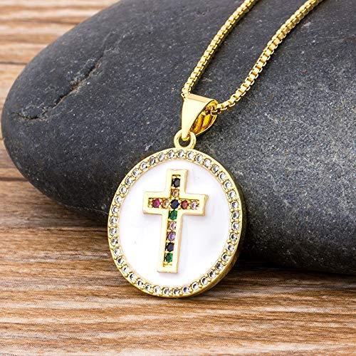 AJESLU Collar De Cruz De Oro De Circonita Cúbica De Cobre Colgante De Cadena Larga Collar De Cz Joyería De Fiesta Fina Regalo para Mujeres Hombres