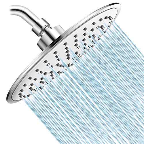 Baban Rainfall Shower HeadHigh Pressure 8 inch Large Rain Shower Head ABS Polish Chrome Finish with Filter to Anticlog Antileak Awesome Shower Experience for Bathroom Home Hotel