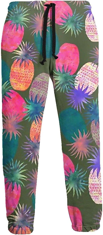 Mens Elastic Waist Sweatpants Pineapples Colorful Joggers Sweatpants for Gym Training Sport Pants