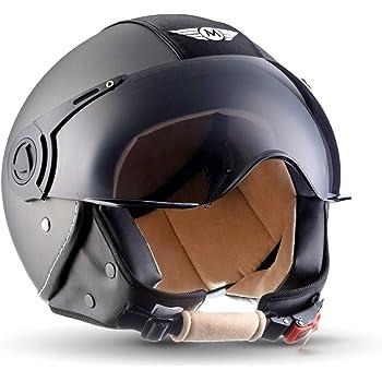 "ARMORHELMETS/® AV-84 /""Ranger/"" /· Jet-Helm /· Motorrad-Helm Roller-Helm Scooter-Helm Bobber Mofa-Helm Chopper Retro Cruiser Vintage Pilot Biker Helmet /· ECE Visier Schnellverschluss Tasche L 59-60cm"