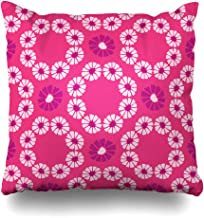 Ahawoso Throw Pillow Cover Endless Blue Allover Folk Daisy Quilt All Over Holiday Nature Colourful Cute Daisies Chain Drawn Home Decor Pillowcase Square Size 20 x 20 Inches Zippered Cushion Case