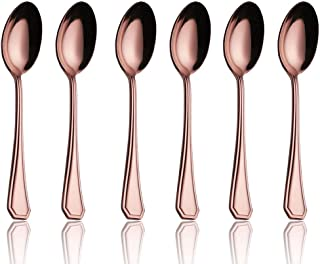 Onlycooker 5-inch 6 Piece Coffee Spoon Flatware Iced Tea Spoons Copper Silverware Set for 6 Stainless Steel Cutlery Dishwasher Safe (Rose Gold)