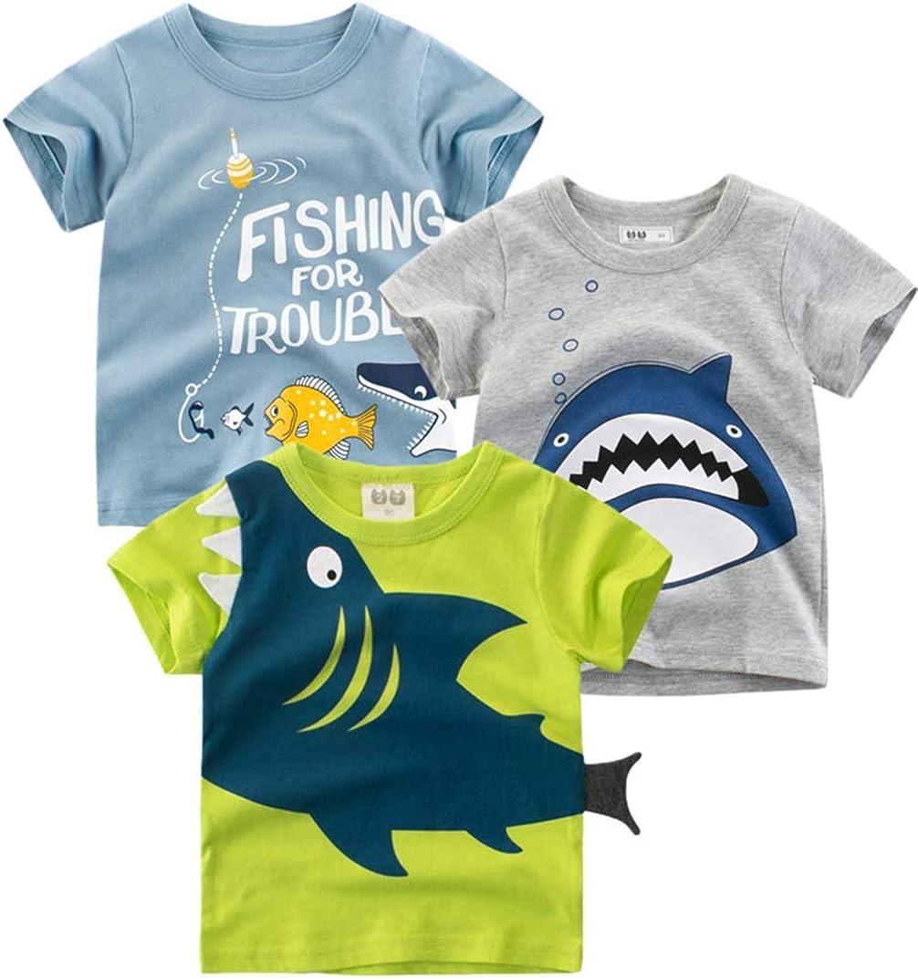 WISHTOP Toddler Boys 3-Pack Shirts Short Sleeve Cotton T Shirts Dinosaur Giraffe Car Top Tee for 2-7 Years…