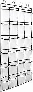 "Auma 24 Mesh Shoe Storage Pockets- Over The Door Hanging Shoe Organizer,White (60""x 22"")"
