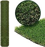 Kunstrasen, 4 m x 1 m, 15 mm Florhöhe, Kunstrasen, hohe Dichte, Dunkelgrün