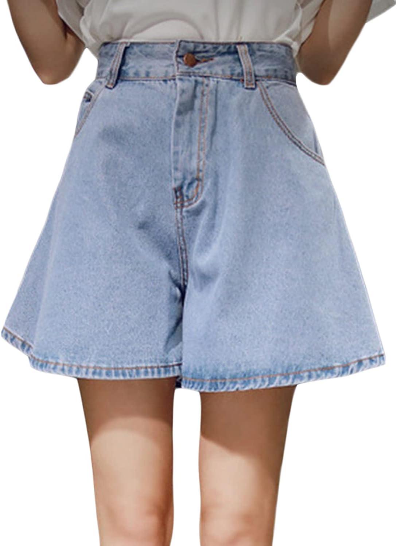 Women's High Waisted Wide Leg Denim Mini Shorts Ruffle Hem Loose Fit Jean Shorts Summer Casual Jeans Short Culottes (Light Blue,X-Large)