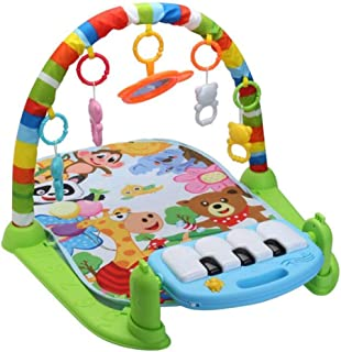 Baby Play Mat 3 in 1 Baby Gym Puzzles Music Play Mat Infant Fitness Carpet W/Piano Keyboard & Animal Playmat Baby Gym Crawling Activity Mat Baby Rattle Toy Kids Game Playing Rug Educational Rack Toys