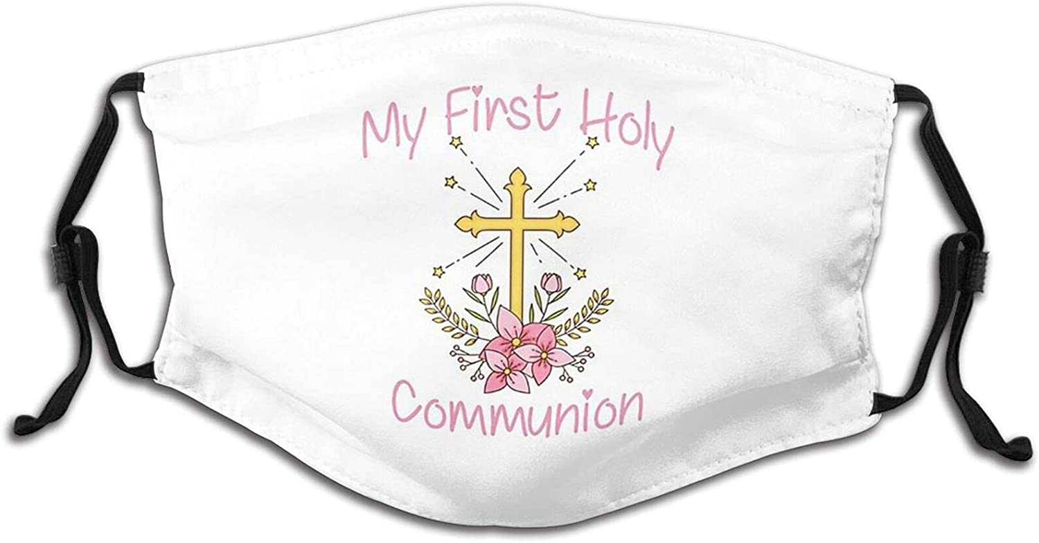 Vdcucc First Communion Face Mask,Washable Reusable Breathable Scarf Fashion Bandana For Boys & Girls With 2 Filters.