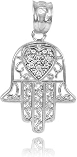 Middle Eastern Jewelry Fine 925 Sterling Silver CZ-Accented Heart Filigree-Style Hamsa Charm Pendant