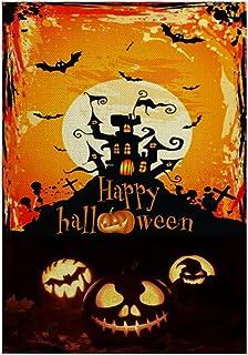 ASKLKD Drapeau de Jardin Halloween, 30cm * 45cm Yard Bienvenue Signe Design à Double Face Design Jardin de Vacances À l'in...