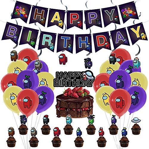 Among us Party Dekoration 36pcs Game Geburtstag Dekoration Happy Birthday Banner Latex Ballon Hinweis Cake Topper für Thema Party Feier Geburtstagsfeier,Junge Kinder Geburtstag Dekoration