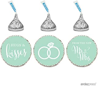 Andaz Press Chocolate Drop Labels Stickers, Wedding Hugs & Kisses from The New Mr. & Mrs, Mint Green, 216-Pack, for Bridal Shower Engagement Hershey's Kisses Party Favors Decor