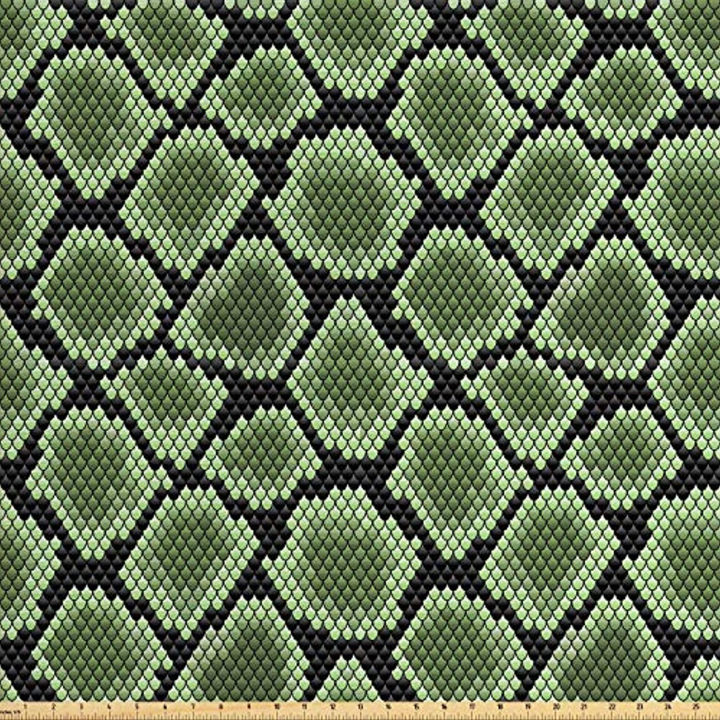 Lunarable Reptile Fabric by The Yard, Scale Pattern Abstract Nature Influences Skin Design Half Circles Illustration, Decorative Fabric for Upholstery and Home Accents, 2 Yards, Black Green