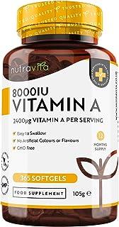 Vitamina A 8000 UI - Suministro para 1 año - 365 cápsulas blandas