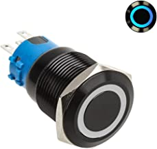 Lamptron Black Vandal-Resistant Switch, 19mm Face, Latch Type, Ring Illuminated, Blue LED