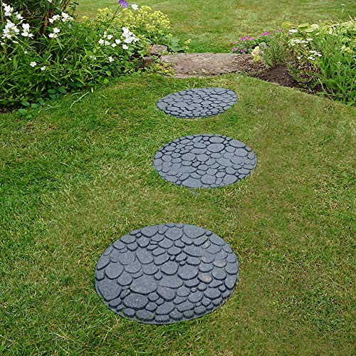 Garden Gear Reversible Stepping Stones Eco-Friendly River Rock Effect Ornamental Recycled Rubber for Garden, Path & Patio 1 Stone 45cm x 45cm (1 Stone)