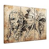Wandbild Indianer VII, Tattoo Art - 90x60 cm quer