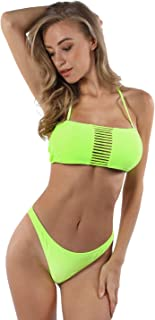 Blooming Jelly Women's Two Piece Swimsuit Sexy Neon Strapless Bandeau Bikini Set Front String Bathing Suit