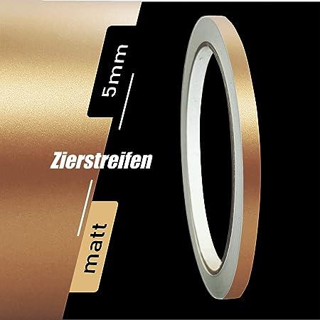 Zierstreifen Matt Gold Metallic 5mm Aufkleber Länge 10m Auto Boot Klebeband Sticker Auto