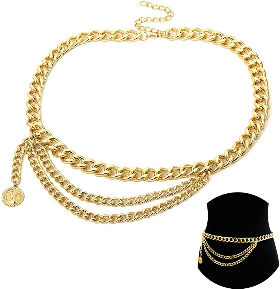 Jurxy Multilayer Alloy Waist Chain Body Chain for Women Waist Belt Pendant Belly Chain Adjustable Body Harness for Jeans Dresses – Gold Style 7 S Size