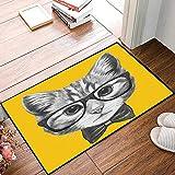 Rutschfester Badvorleger, Tier, skizzenhafte handgezeichnete Design Baby Hipster Katze süßes Kätzchen mit Brille Bild drucken,Mikrofaser Duschvorleger Teppich für Badezimmer Küche Wohnzimmer 40x60 cm