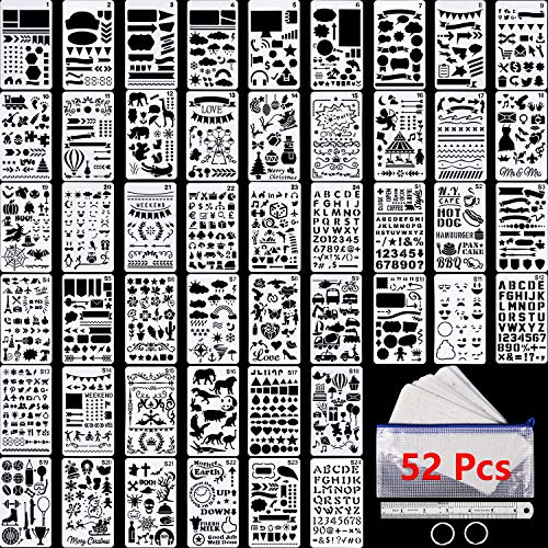 48 Pieces Journal Planner Stencils Plastic Bullet Stencil with A6 File Bag, Steel Ruler and 2 Pieces Metal Key Rings for Notebook, Diary, Scrapbook and DIY Drawing Template, Total 52 Pieces