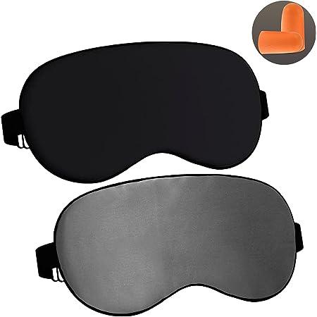 YOLETO 2Pack Sleep Mask Silk Eye Masks for Sleeping Adjustable Blindfold with Ear Plug Cool Eye Cover for Men Women, Traveling Accessories (Black Grey)