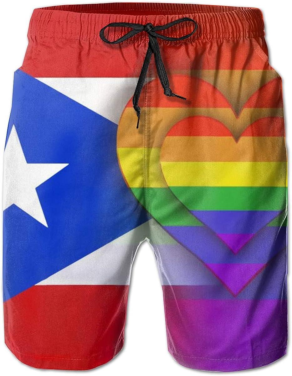 Men's Swim Trunks Puerto Rico Rainbow Flag Lightweight Boardshort Trunks for Sunbathing Spa,with Mesh Lining
