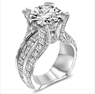 MAIHAO Fashion Women 925 Sterling Silver Ring,White Topaz Cubic Zirconia CZ Diamond Elegant Eternity Engagement Wedding Band Ring Size 6-10 (US Code 8)