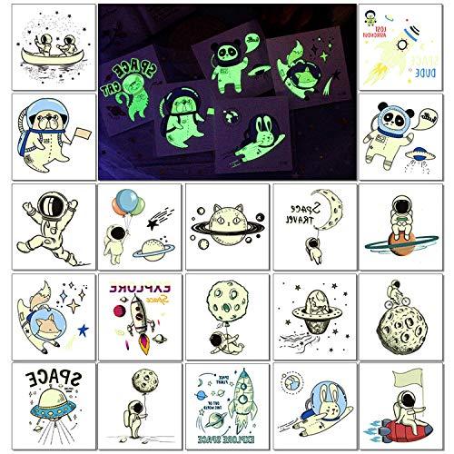 20 Blatt Kindertattoos, PHOGARY SPACE Temporäre Tattoos (Im Dunkeln leuchten) Kinder Tattoo Aufkleber (Weltraum Thema) Gefälschte wasserdichte Tattoos für Jungen Mädchen Geburtstagsfeier Gunst