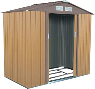 Goplus 7' X 4' Outdoor Storage Shed Steel Garden Tool House w/Sliding Door (Yellow)