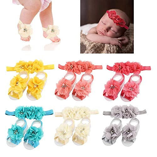 470da83609ed2e Baby Barefoot Sandals and Headband Sets Soft Stretch Ribbon Baby Decoration  Hair Accessories Shower Gift for