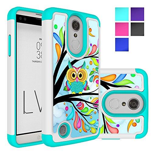 LG Aristo Case, LG Phoenix 3 Case, LG K8 2017 Case, LG Fortune Case, LG Risio 2 Case, LG Rebel 2 LTE Case, MicroP Hybrid Dual Layer Silicone Phone Case for LG LV3 (Armor Green Owl)