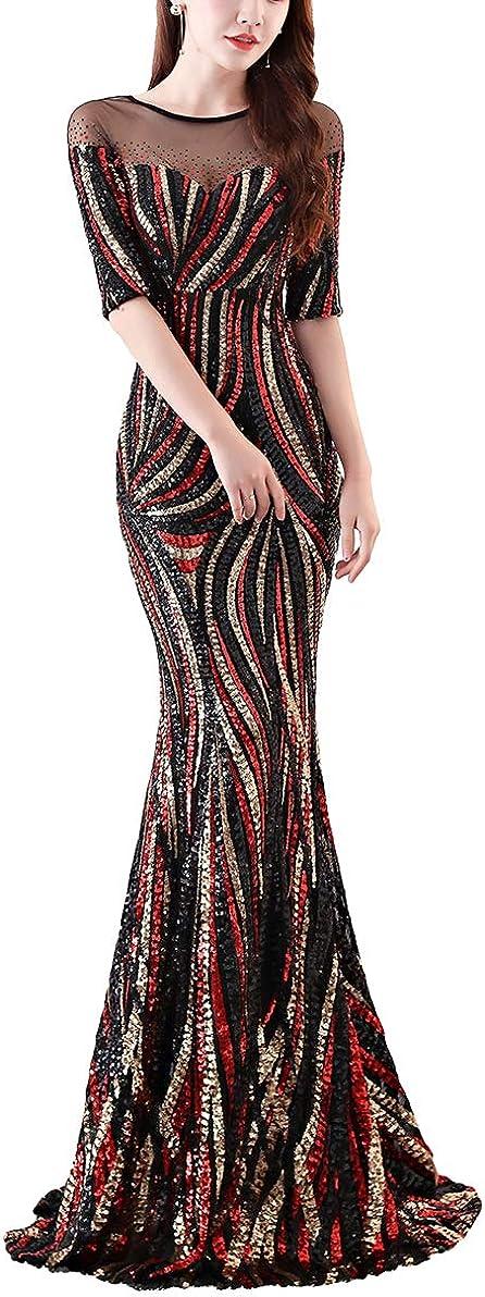 Chowsir Women Sexy Elegant 品質保証 Slim Sequin Long Cocktail Eveni Party !超美品再入荷品質至上!