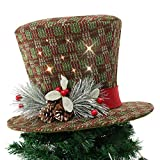 Wyness 15inch Christmas Tree Topper Led Light Christmas Hat with Pinecones and Holly Berries(Green)