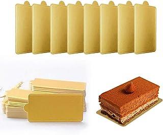 Mini cuadrado de cartón dorado para decoración de tartas,