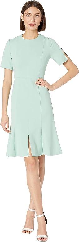 Crepe Short Split Sleeve Fit and Flare Dress
