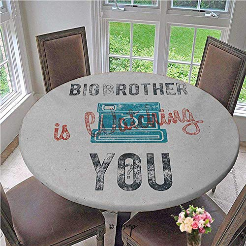 ThinkingPower Round Table Cover Half Toned Big Brother Quote with Old Fashion Analogue Camera Icon Book Web Print Durable Table Cloth Great Product for The Price Blue Grey Diameter - 63 Inch