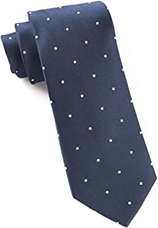 The Tie Bar 100% Woven Silk Navy and White Satin Dot Skinny Tie