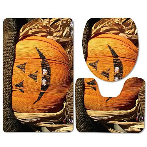 Claean-Acces-Home Tapis Sdb Lampe de Citrouille Halloween Tapis antidérapante Trois Ensembles de Tapis de sol-WSJ307_45 * 75cm Ensemble de Trois pièces