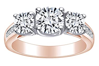 2 1/4 Carat Round Shape White Natural Diamond Three Stone Engagement Ring in 14k Solid Gold (2.25 Cttw)