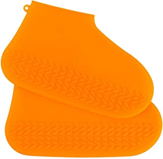 Chat Topping Outdoor Waterproof Silicone Shoes Covers and Reusable Rain Boots for Man, Women and Kids (M, Orange)