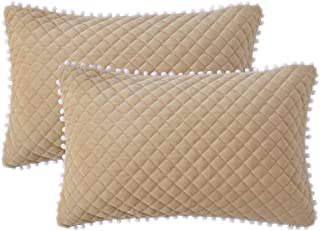 LIFEREVO 2 Pack Diamond Quilted Crystal Velvet Mink Pillowcases Pompoms Fringe Zipper Closure (Pillowcases Camel, Queen)