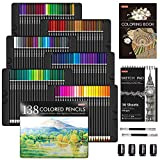 138 Colors Professional Colored Pencils, Shuttle Art Soft Core Coloring Pencils Set with 1 Coloring Book,1 Sketch Pad, 4 Sharpener, 2 Pencil Extender, Perfect for Artists Kids Adults Coloring, Drawing
