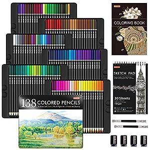 Lápices de colores profesionales de 138 colores, set de lápices para colorear con 1 libro para colorear, 1 bloc de…
