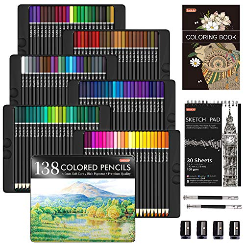 Lápices de colores profesionales de 138 colores, set de lápices para colorear con 1 libro para colorear, 1 bloc de bocetos, 4 sacapuntas, 2 extensor de lápiz, perfecto para artistas niños adultos